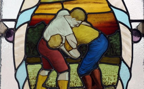 Wrestlers stained glass