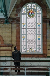 Lord Mayor of Manchester with newly restored ZEPHYR window 2016