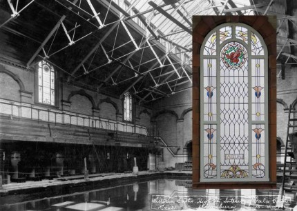 Gala pool 1905, inset - reinstalled 'Aqua' window